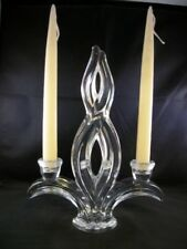 STUNNING FRENCH VANNES CRYSTAL GLASS TWIN CANDLESTICK CANDLE HOLDER