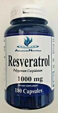 Resveratrol 180 Capsules 1000mg Polygonum Cuspidatum Anti Aging Gluten Free