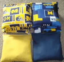 SET OF 8 UNIVERSITY OF MICHIGAN WOLVERINES CORNHOLE BAGS - QUALITY