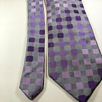 """Sean John Men's Necktie Gray/Purple Geometric 100% Silk Tie W 3.75"""" L 58"""""""