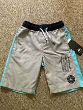Nwt Quiksilver Volley Shorts Swim Trunks Boys 7 Color Change Board Blue Gray