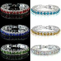 Fashion Women Crystal Rhinestone Tennis Bracelet Bangle Bridal Wristband Gift