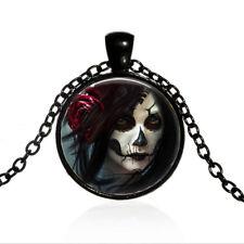 Vintage Gothic Rose Steampunk Cabochon Black Glass Chain Pendant Necklace