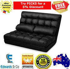 Adjustable Sofa Bed Lounge Chaise PU Leather Chair 2 Seater Black Pillows 10 Pos
