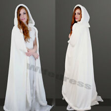 Velvet Wedding Cape Long Jacket Hooded Winter Bridal Cloak White Floor Length