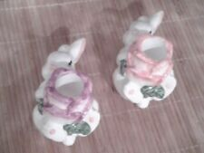 Easter Bunny ~Flower Shaped Tapered Ceramic Candle Holders