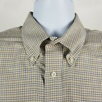 Jos A Bank Est 1905 Blue Brown Plaid Check Dress Button Shirt Sz Large L