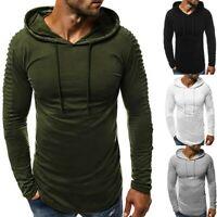 Men Hooded Splicing Long Sleeve Muscle Tee Shirt Fashion Long Sleeve Blouse Tops