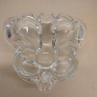 Hand Blown Vintage Clear Art Glass Butterfly Shaped Dish Retro Mid-century