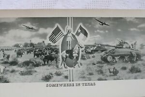 VINTAGE 1944 WW'II PANORAMA US ARMY,SOMEWHERE IN TEXAS,42X10 IN,TANKS,AIRCRAFT