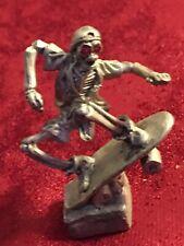 RARE GALLO PEWTER SKATEBOARDING SKELETON RUBY RED EYES VTG 1992 RIDOLFI-SIGNED