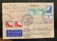 1937 German Luftpost: postcard stamps cancel: Hindenburg Frankfurt Köln Berlin