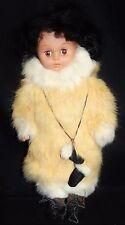 "Eskimo Doll Real Rabbit Fur Clothes 12"" Souvenir Mittens Boots Plastic Body"
