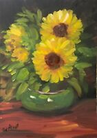 Print of Original painting art Vase sunflowers floral Impressionism shabby chic