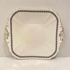 Shelley England Bone China Cake Plate Black White Gold Square 2008/6