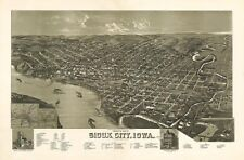 Sioux City Iowa c1888 map 36x24