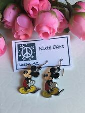 Silvertone Mickey Mouse Standing Hands behind back Character Dangle Earrings