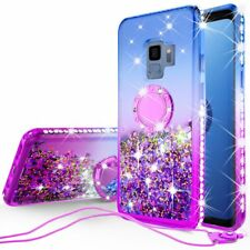 Samsung Galaxy S9 Plus Case Ring Liquid Glitter Bling Diamond Bumper Cute Purple