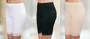 Damen Unterhose Langbein Langbeinschlüpfer Boxershorts Spitze 100% Baumwolle