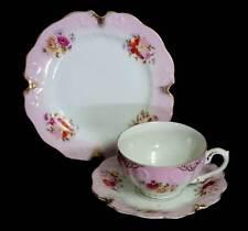 Antique pink and floral hand embellished fine china trio set
