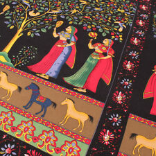 Vintage Ethnic Indian Style Cotton Linen Fabric Horse Girl Patchwork by the yard