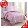 Twin Kids Bedding Set Sheets Girls Comforter Rainbow Unicorn 5 Piece Pink - NEW