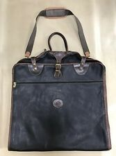 """Roots Canada Genuine Black Leather 44"""" Carry On Garment Suit Bag"""