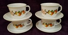 Vintage Arcopal France Apple Blossom milk glass cups and saucers x4