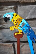 Blue & Gold  Macaw Parrot  Amish Made Wood Toy Puzzle Animal Figurine Art