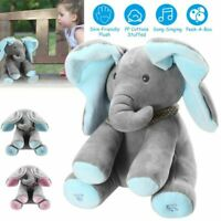 Peek-a-Boo Elephant Stuffed Doll Animated Talking and Singing Plush Toy For Baby