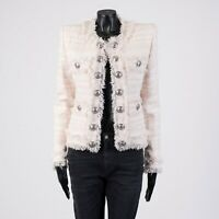 BALMAIN 2490$ Double Breasted Collarless Jacket In Light Rose Tweed