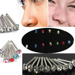 UNISEX Nose Stud Crystal Clear Mix Colour Bone Straight Bar Piercing Small 1 pc