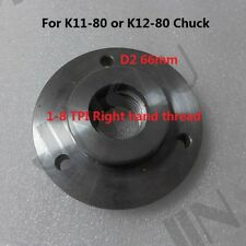 1-8 TPI Back Plate for Chinese K11-80 K12-80 3 inch 3 jaws 4 jaws chuck D2 66mm