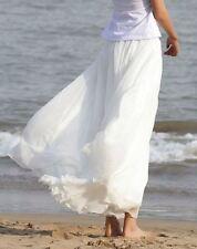 UK Women Beach Party Chiffon Pleated Long Maxi Skirt Dress White