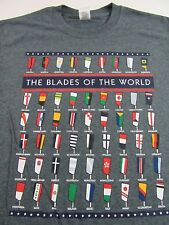 """ROWING """"Blades Of The World"""" Painted Flag Blades SS T Shirt Size S (NWOT)"""