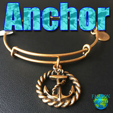 Alex and Ani ANCHOR Rafaelian Gold Charm Bangle New W/Tag,Card & Box