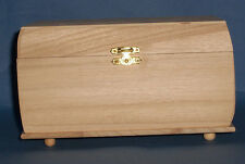 New Rectangular wooden box with hinge, clasp and ball feet SECONDS