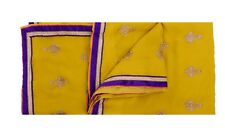 Vintage Yellow Saree Pure Crepe Silk Hand Beaded Craft Fabric 5 Yd Sari Sewing