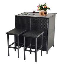 3 PCS Black Wicker Bar Set Patio Outdoor Table & 2 Stools Furniture Steel Frame