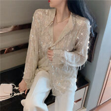 Women's Shirt Tassel Sequins Long Sleeve Loose Blouse Ladies Fashion Party Tops