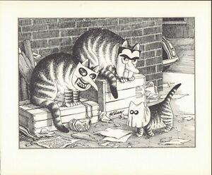 B Kliban Cats HALLOWEEN CATS Vintage ORIGINAL Funny Cat Art Print 1981