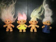 4 Vintage Mohair Troll 2 Dam 2 Unmarked 2 3/4 Blond Pink Blue Eyes 1964 Lavender