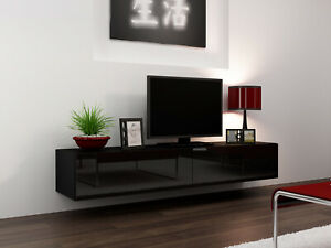High Gloss Black TV Cabinet Wall Mounted Floating Entertainment Unit 180cm