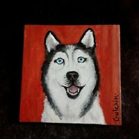Husky Dog Original Miniature 5 x 5 ins. acrylic painting on canvas by Gulchik