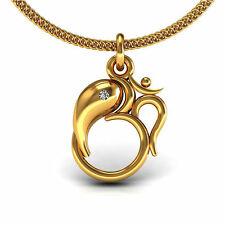 Lord Gansha OM Pendant Solid Yellow Gold Real Diamond Kids Jewelry Without Chain