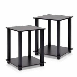 Juego De 2 Mesas Auxiliar En Madera Color Negro Para El Hogar Small Black Table