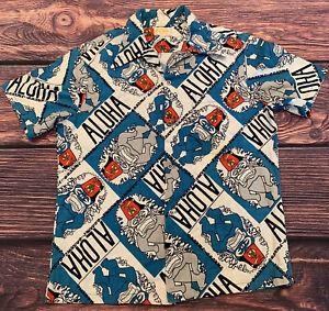 Vintage Shirt  Tiki Hawaiian Button Up  Black Orange Pink  Extra Large XL Large L