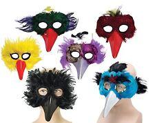 FEATHER BIRD EYE MASKS,BEAK,BLACK/YELLOW/RED/GREEN/PURPLE,MASQUERADE/FANCY DRESS