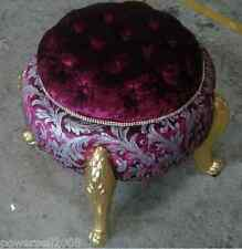 Retro European Classical Decorative Fabric Round Vanity Stool/Footstool &5