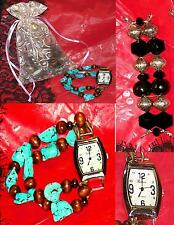 Turquoise Watch Bands Handcrafted Precious stones & One Geneva Watch Lot Of Four